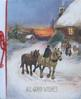 ALL GOOD WISHES 2 cart horses come home along snowy road, man rides side-ways, talks with woman & child in front of cottage