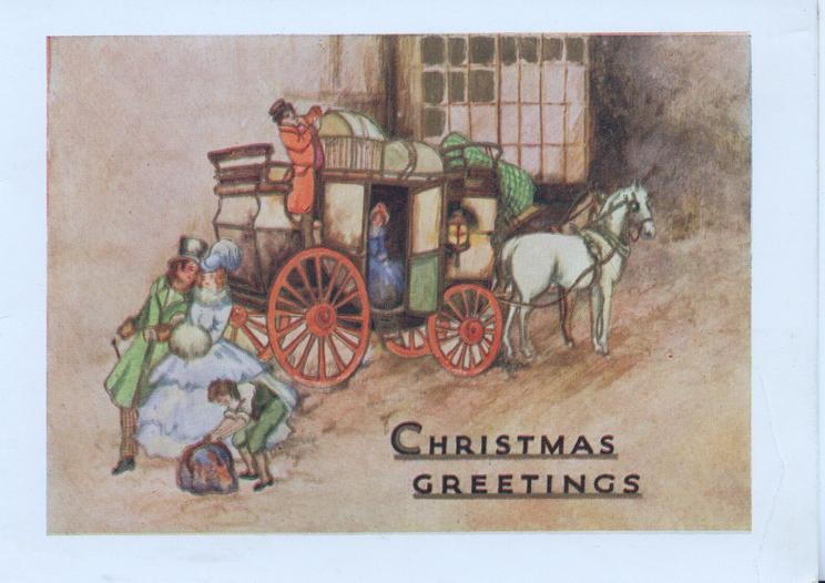 CHRISTMAS GREETINGS passengers in old style dress leave 2 horse coach