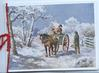 CHRISTMAS GREETINGS 2  people in horse drawn cart talk with man by gate, snow scene