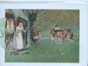 GREETINGS FOR A HAPPY CHRISTMAS woman in lighted cottage doorway watches approaching horse & cart