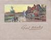 GOOD WISHES in gilt below inset, horse & cart comes front along town street, common left