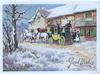 GOOD WISHES in gilt, 4 horse coach prepares to leave left, snow scene, tree & grass left