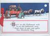 HERE'S AN..verse , moonlit travel, 4 horse coach guarded  by man with gun, 2 passengers walk, snow scene
