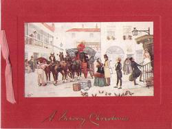 A MERRY CHRISTMAS man unloads trunk from stagecoach to gentleman's  back, red backing