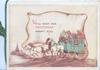 WE'LL KEEP OR CHRISTMAS MERRY STILL on white plaque behind 4 horse green coach moving left, passengers on topcoach