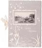 GOOD WISHES white embossed with delicate marsh flowers, inset rural scene with 4 cows near waterside