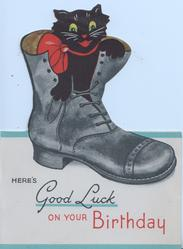 HERE'S GOOD LUCK ON YOUR BIRTHDAY, front cut to show black cat in black boot