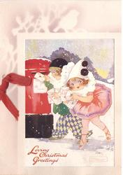 LOVING CHRISTMAS GREETINGS  inset of children as Pierrot & Pierette posting letters over stenciled bird in tree