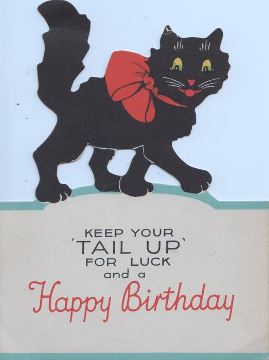 """KEEP YOUR""""TAIL UP"""" FOR LUCK AND A HAPPY BIRTHDAY front cut to show black cat walking right"""