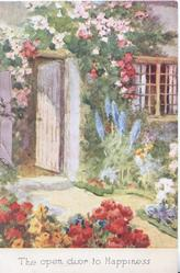 THE OPEN DOOR TO HAPPINESS  many flowers beside paved path & open cottage door