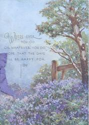 WHEREVER YOU GO.....above carpet of bluebells, fence & tree right