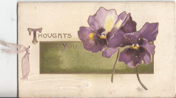 THOUGHTS OF YOU in gilt, two pansies to the right