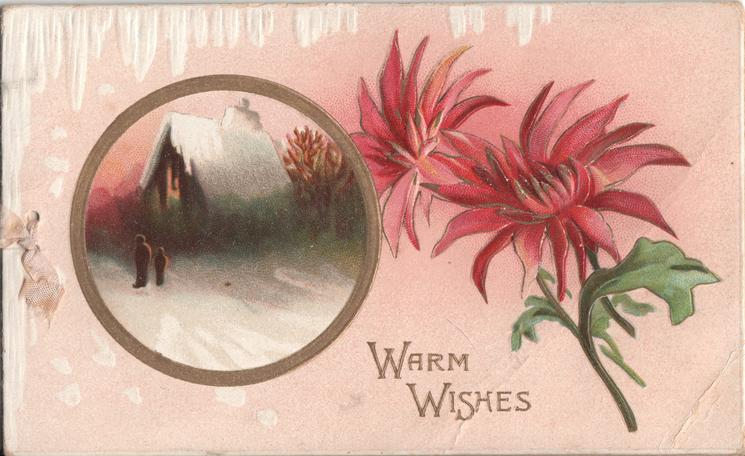 WARM WISHES inset of winter scene beside chrysanthemums