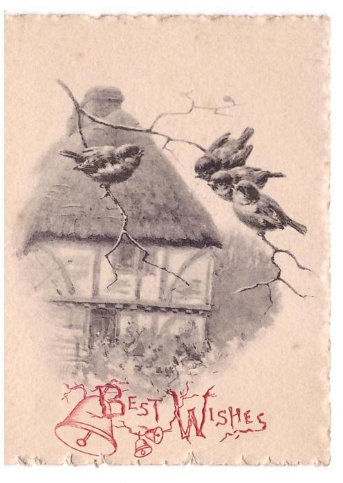 BEST WISHES opt. in red or gilt with bells, 4 tits on branch front of thatched roof cottage, shades of grey