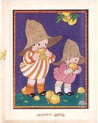 HAPPY DAYS opt. in orange, 2 children wearing large hats eat apples