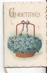 GREETINGS basket of forget-me-nots underneath