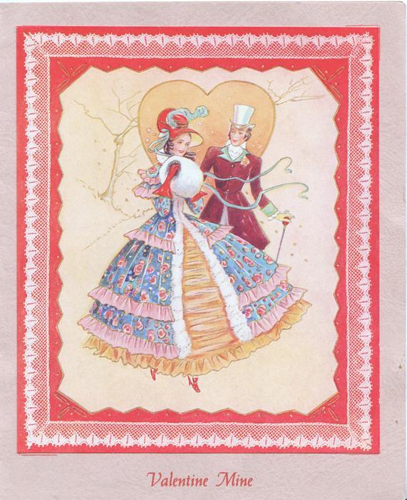 VALENTINE MINE in red below inset of man & woman in elaborate old-style dress, orange heart behind