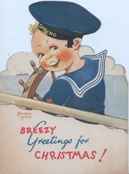 BREEZY GREETINGS FOR CHRISTMAS! boy in sailors outfit, cap DAR NG
