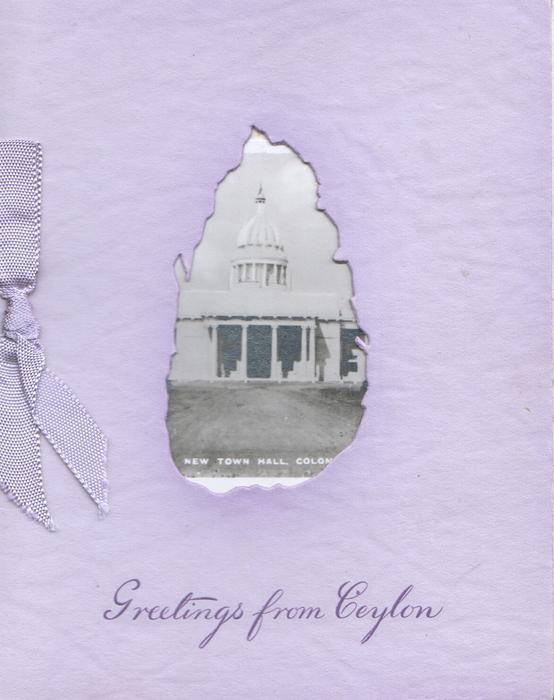 GREETINGS FROM CEYLON, Ceylon shaped cut-out  window to show photo behind