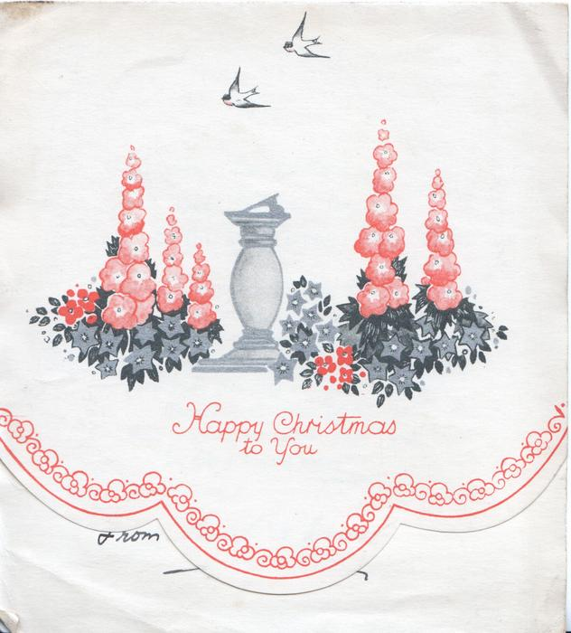HAPPY CHRISTMAS TO YOU in red below sundial & orange stylised hollyhocks on front flap