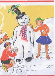 no front title, personised snowman, boy on left flap & girl right add snow