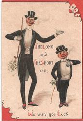 THE LONG AND THE SHORT OF IT tall and short men both wear tuxedos