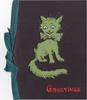 GREETINGS opt. in red below cat-shaped perforation with green coloration from inner sheet