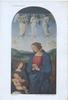 THE VIRGIN ADORING: DETAIL 3 angels above, Mary, Jesus & the Virgin below