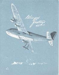 WINGED GREETINGS in white, 4-engine air-liner banks & flies left, grey background