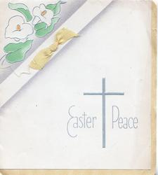 EASTER PEACE & cross in silver, stylised top corner floral design