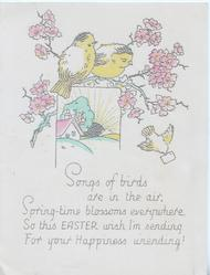 SONGS OF BIRDS.......pink floral design with birds of happiness over small cottage inset