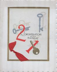 21 in red,gilt bordered inset CONGRATULATIONS ON YOUR BIRTHDAY with 3 keys