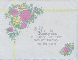 WISHING YOU A HAPPY BIRTHDAY AND JOY THROUGH ALL THE YEAR
