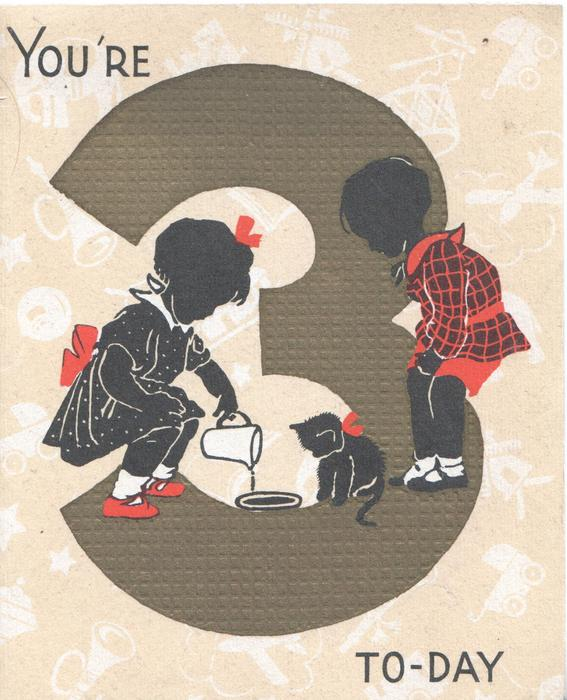 YOU'RE 3 TO-DAY two black children in red & black attire, one poures milk for cat, the other observes