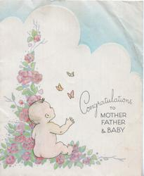 CONGRATULATIONS TO MOTHER FATHER & BABY, baby sits among stylised pink roses looking up at butterflies