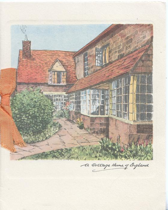 A COTTAGE HOME OF ENGLAND greenery front & left, pavement, houses right