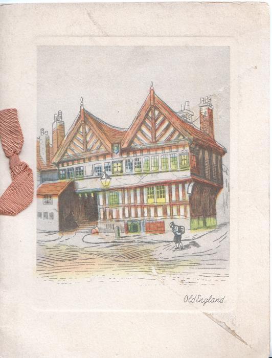 OLD ENGLAND inset of tudor gabled building on corner