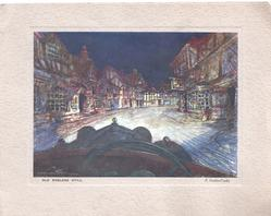 OLD ENGLAND STILL street of tudor gabled buildings at night lit up by car headlights