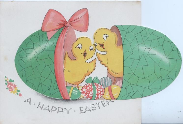 A HAPPY EASTER below green Easter egg tied with pink ribbon