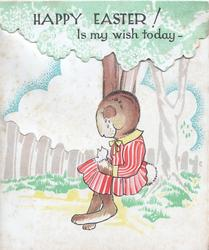 HAPPY EASTER! IS MY WISH TODAY --  on green/white top flap which lifts to show long ears of female dressed rabbit