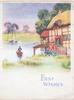 BEST WISHES in blue below riverside cottage, pink flowers, man punts acrooss from meadow & 3 boats
