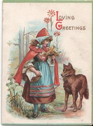 LOVING GREETINGS child dressed as little red riding hood stands beside wolf