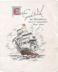 EVERY(E illuminated) GOOD WISH FOR CHRISTMAS AND A PEACEFUL NEW YEAR, ship in full sail heads front/left