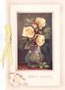 GOOD WISHES stenciled below inset vase with 3 yellow roses, yellow ribbon left