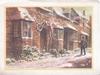 no front title, postman walks left along terrace of houses, dog on one doorstep, snow scene