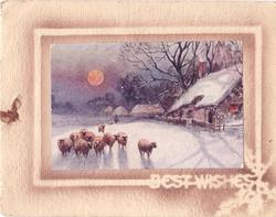 BEST WISHES stenciled below inset winter scene, sheep with shepherd far behind, house right, full moon