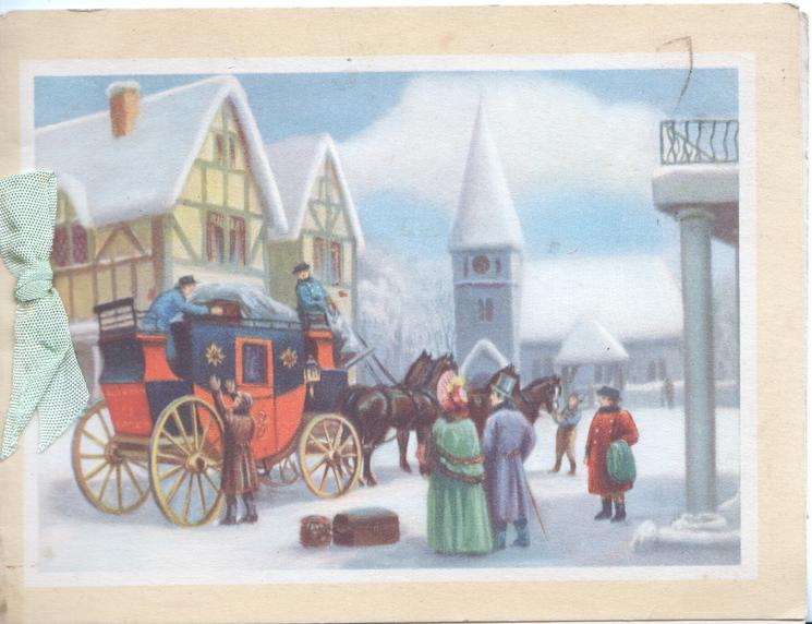 no front title, inset 4 horse team & carriage loading, people in old style dress, snow scene