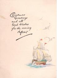 CHRISTMAS GREETINGS AND ALL GOOD WISHES FOR THE COMING YEAR above masted ship & 3 seagulls