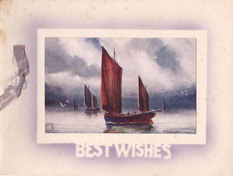 BEST WISHES stenciled below inset of four sailboats, one close up, others distant
