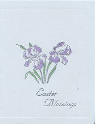 EASTER BLESSINGS in silver below purple irises